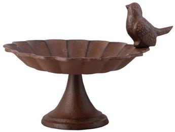 Bain ou plateau graines oiseaux fonte Ht 14 cm avec oiseau déco.