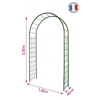 Arche double décor treillage larg. 130 Prof. 40 Ht 250 cm vert sapin