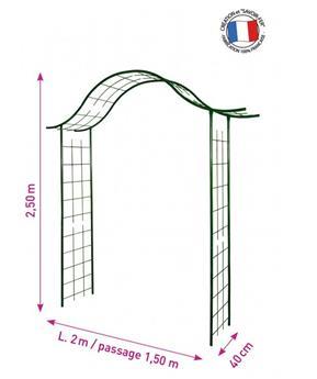 Arche décor treillage (3254) larg.150 cm Prof. 40 Ht 250 cm vert sapin - Pergola
