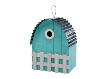 Nichoir toit courbe maison bleu clair