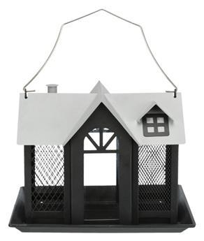 Mangeoire Oiseaux Villa, 2.000 Ml/26 × 19 × 19 Cm, Noir
