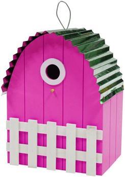 Nichoir toit courbé métal maison rose fuchsia