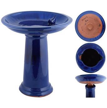 Bain d´oiseau céramique bleu / pied