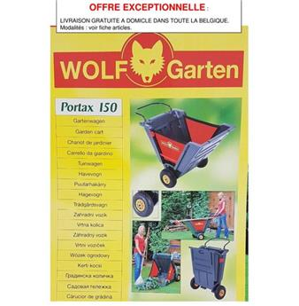 Wolf brouette Portax 150 Expédition gratuite dans toute la Belgique.