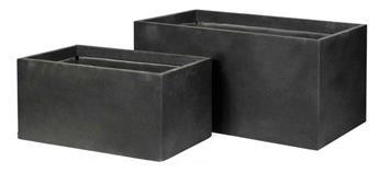 Jardinière Bigular Clayfibre Anthracite L100 l 50 Ht 40 cm lisse
