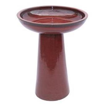 Bain D´Oiseau D44Cm H62,5Cm Rouge Émaillé